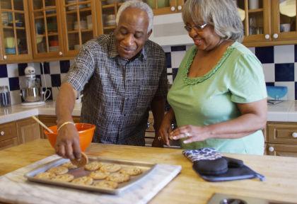 older couple in kitchen