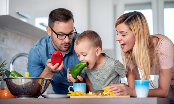 family with vegetables
